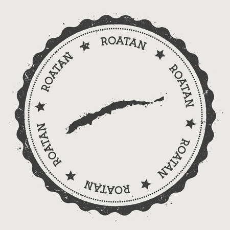 overseas: Roatan sticker. Hipster round rubber stamp with island map. Vintage passport sign with circular text and stars.