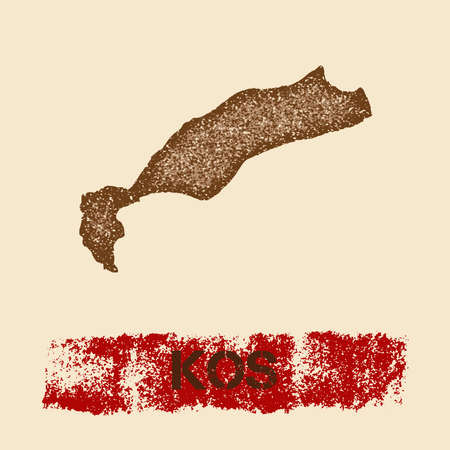 Kos distressed map. Grunge patriotic poster with textured island ink stamp and roller paint mark. Illustration