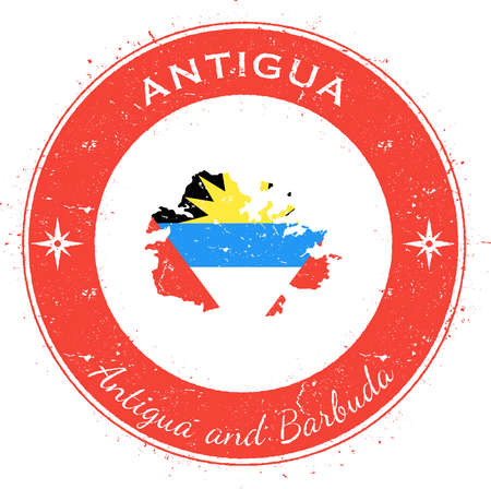 Antigua circular patriotic badge. Grunge rubber stamp with island flag, map and name written along circle border.