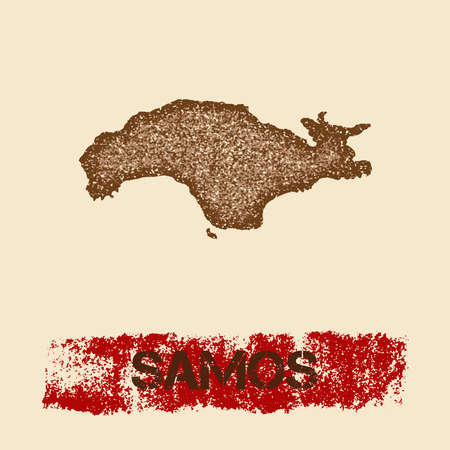 Samos distressed map. Grunge patriotic poster with textured island ink stamp and roller paint mark. Illustration