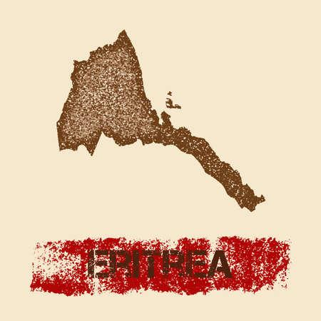 エリトリア苦しめられた地図。グランジ テクスチャ国スタンプ ローラーと愛国的なポスターは、マーク、ベクトル図を描きます。