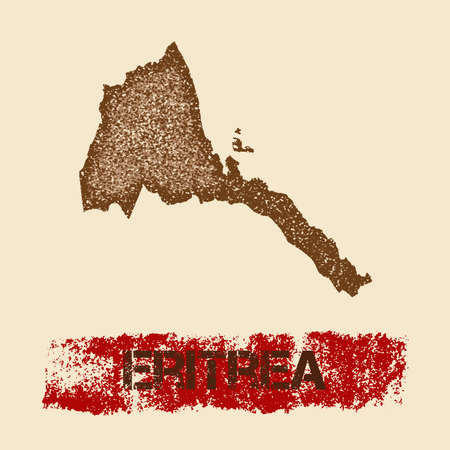 Eritrea distressed map. Grunge patriotic poster with textured country ink stamp and roller paint mark, vector illustration. Illustration