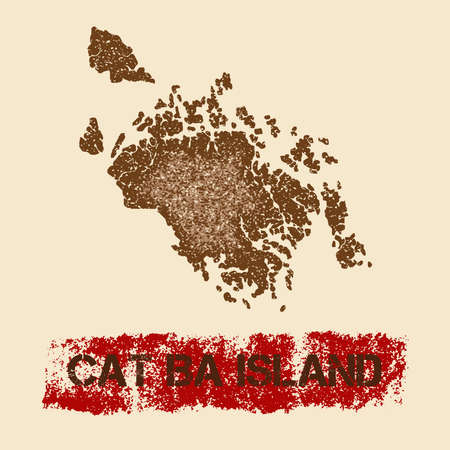 Cat Ba Island distressed map. Grunge patriotic poster with textured island ink stamp and roller paint mark, vector illustration.