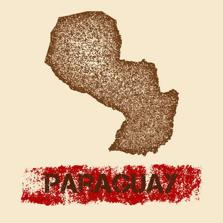 para: Paraguay distressed map. Grunge patriotic poster with textured country ink stamp and roller paint mark, vector illustration. Illustration
