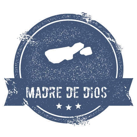trotting: Madre de Dios Island logo sign. Travel rubber stamp with the name and map of island, vector illustration. Can be used as insignia, logotype, label, sticker or badge. Illustration