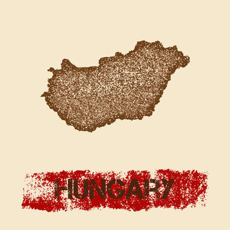 Hungary distressed map. Grunge patriotic poster with textured country ink stamp and roller paint mark, vector illustration.