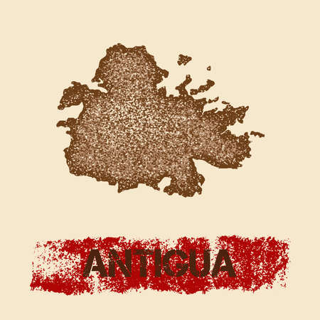 caribbean cruise: Antigua distressed map. Grunge patriotic poster with textured island ink stamp and roller paint mark, vector illustration. Illustration