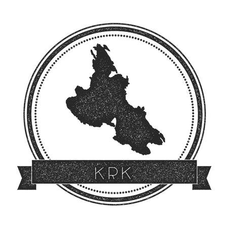 Krk map stamp. Retro distressed insignia. Hipster round badge with text banner. Island vector illustration. Ilustrace