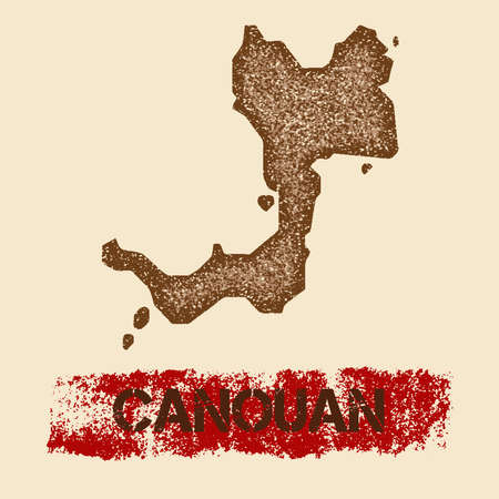 Canouan distressed map. Grunge patriotic poster with textured island ink stamp and roller paint mark, vector illustration.