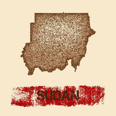 Sudan distressed map. Grunge patriotic poster with textured country ink stamp and roller paint mark, vector illustration.