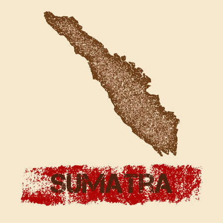 indo: Sumatra distressed map. Grunge patriotic poster with textured island ink stamp and roller paint mark, vector illustration. Illustration
