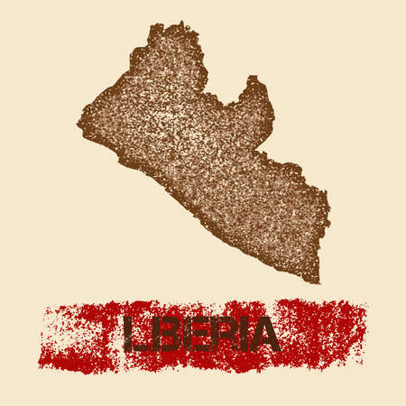 Liberia distressed map. Grunge patriotic poster with textured country ink stamp and roller paint mark, vector illustration.