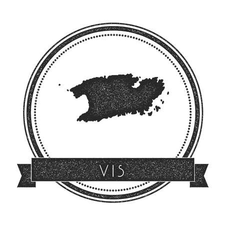 europe vintage: Vis map stamp. Retro distressed insignia. Hipster round badge with text banner. Island vector illustration. Illustration