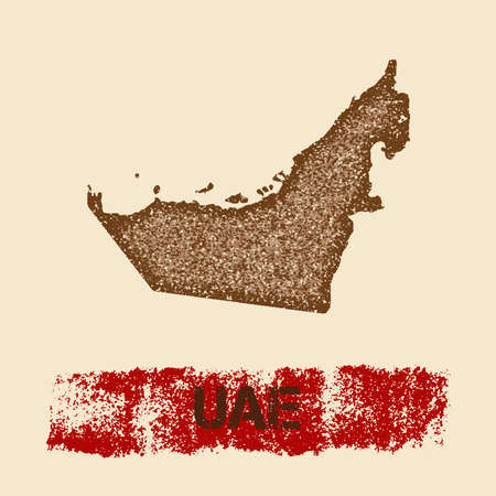 UAE distressed map. Grunge patriotic poster with textured country ink stamp and roller paint mark, vector illustration.