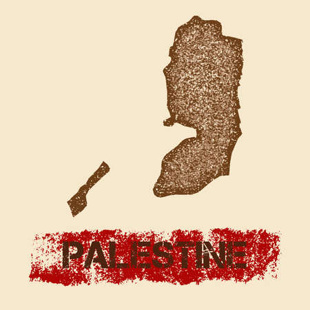 pals: Palestine distressed map. Grunge patriotic poster with textured country ink stamp and roller paint mark, vector illustration. Illustration
