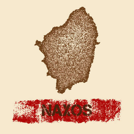 Naxos distressed map. Grunge patriotic poster with textured island ink stamp and roller paint mark, vector illustration.