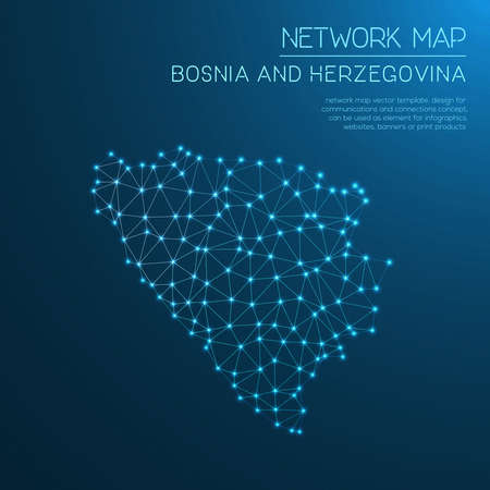 herz: Bosnia and Herzegovina network map. Abstract polygonal map design. Internet connections vector illustration.