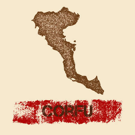 Corfu distressed map. Grunge patriotic poster with textured island ink stamp and roller paint mark, vector illustration.