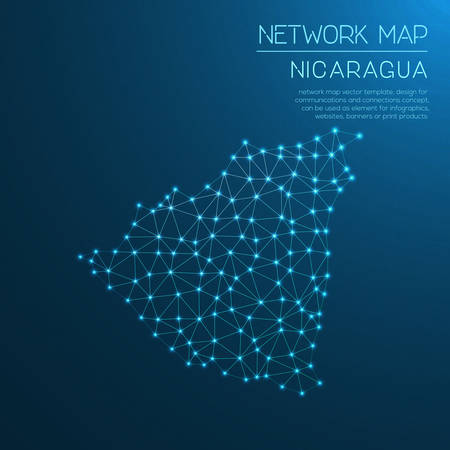 network map: Nicaragua network map. Abstract polygonal map design. Internet connections vector illustration.