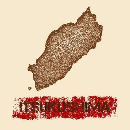 itsukushima: Itsukushima distressed map. Grunge patriotic poster with textured island ink stamp and roller paint mark, vector illustration.