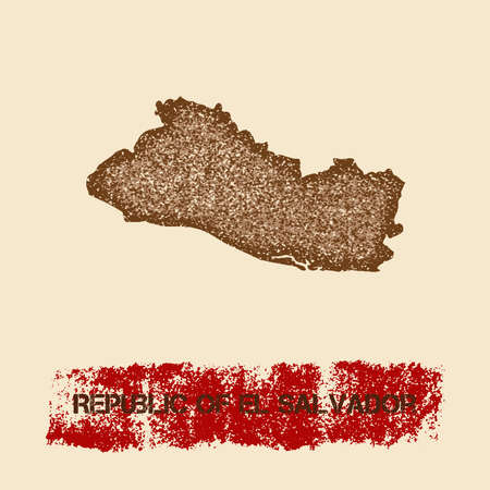 mapa de el salvador: Republic of El Salvador distressed map. Grunge patriotic poster with textured country ink stamp and roller paint mark, vector illustration.