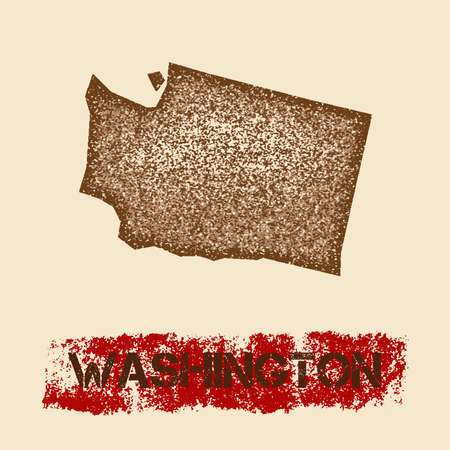 Washington distressed map. Grunge patriotic poster with textured state ink stamp and roller paint mark, vector illustration. Illustration