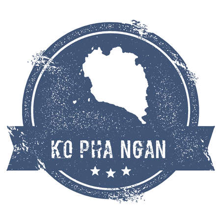 Ko Pha Ngan logo sign. Travel rubber stamp with the name and map of island, vector illustration.. Ilustracja