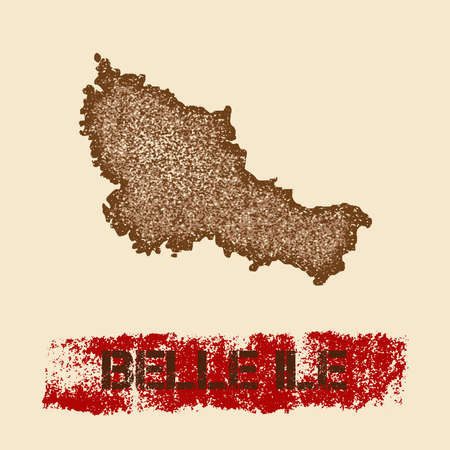 Belle Ile distressed map. Grunge patriotic poster with textured island ink stamp and roller paint mark, vector illustration.
