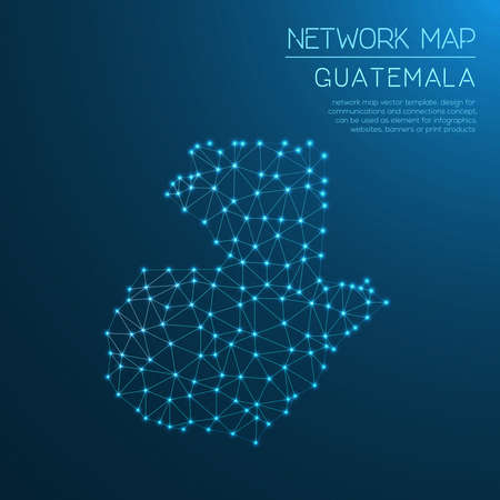 Guatemala network map. Abstract polygonal map design. Internet connections vector illustration. Vectores