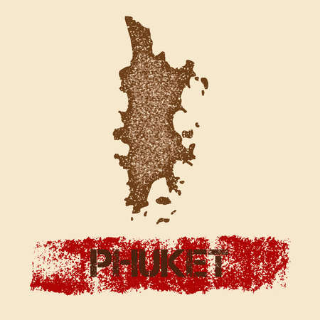 Phuket distressed map. Grunge patriotic poster with textured island ink stamp and roller paint mark, vector illustration.