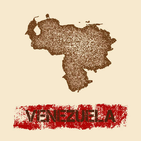 Venezuela distressed map. Grunge patriotic poster with textured country ink stamp and roller paint mark, vector illustration.