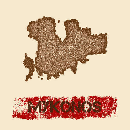 Mykonos distressed map. Grunge patriotic poster with textured island ink stamp and roller paint mark, vector illustration. Illustration