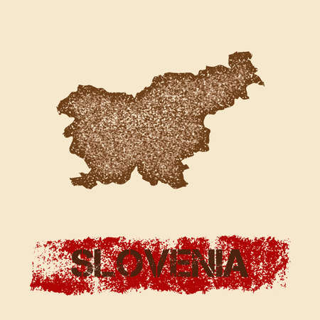 Slovenia distressed map. Grunge patriotic poster with textured country ink stamp and roller paint mark, vector illustration.