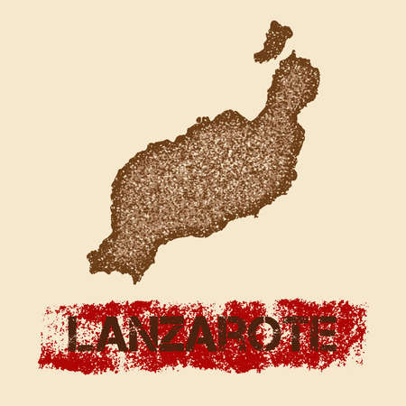 Lanzarote distressed map. Grunge patriotic poster with textured island ink stamp and roller paint mark, vector illustration. Illustration
