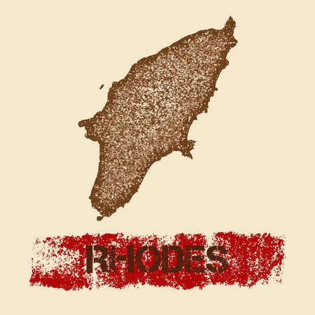 Rhodes distressed map. Grunge patriotic poster with textured island ink stamp and roller paint mark, vector illustration.