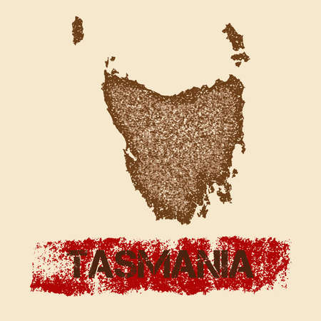 Tasmania distressed map. Grunge patriotic poster with textured island ink stamp and roller paint mark, vector illustration. Illustration