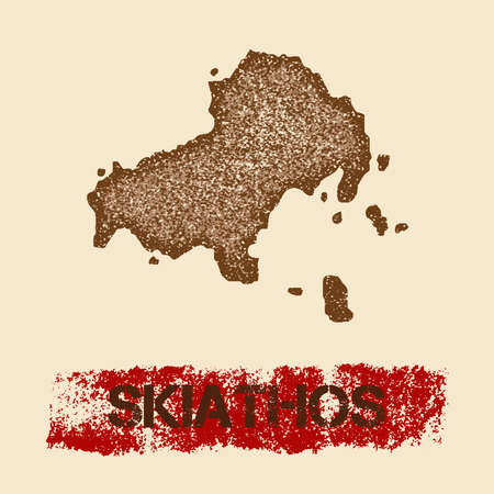 Skiathos distressed map. Grunge patriotic poster with textured island ink stamp and roller paint mark, vector illustration. Illustration