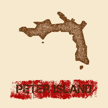 Peter Island distressed map. Grunge patriotic poster with textured island ink stamp and roller paint mark, vector illustration.