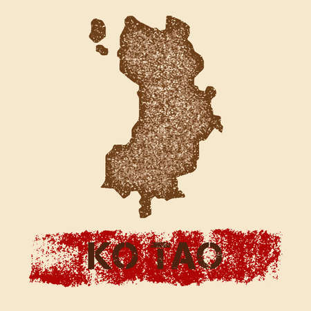Ko Tao distressed map. Grunge patriotic poster with textured island ink stamp and roller paint mark, vector illustration.