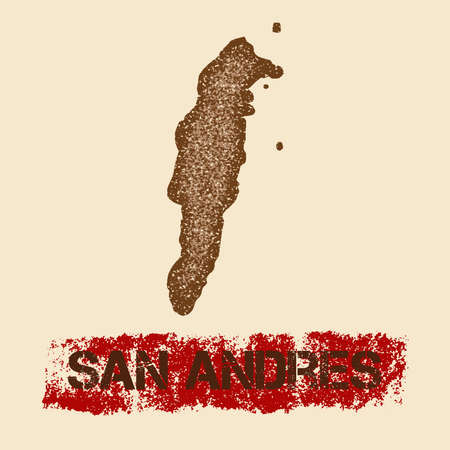 San Andres distressed map. Grunge patriotic poster with textured island ink stamp and roller paint mark, vector illustration.
