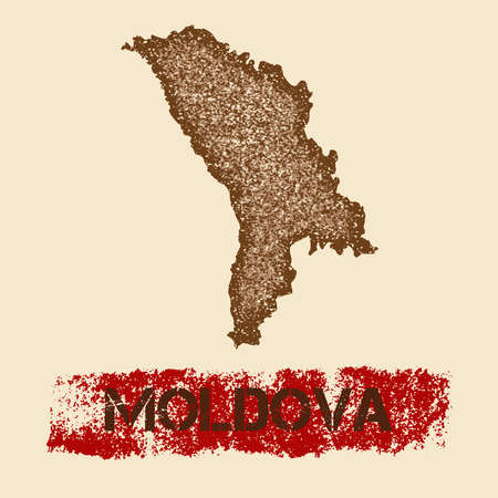 Moldova distressed map. Grunge patriotic poster with textured country ink stamp and roller paint mark, vector illustration.