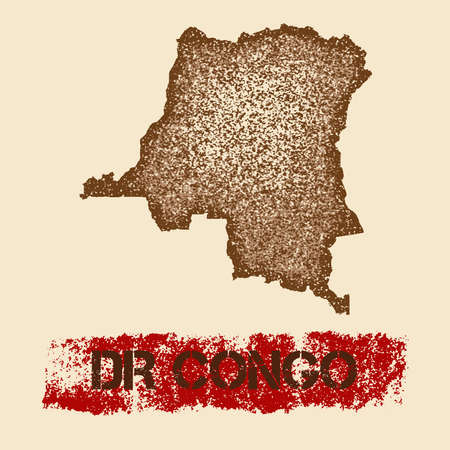 DR Congo distressed map. Grunge patriotic poster with textured country ink stamp and roller paint mark, vector illustration.
