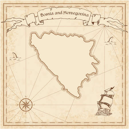 herz: Bosnia and Herzegovina old treasure map. Sepia engraved template of pirate map. Stylized pirate map on vintage paper.