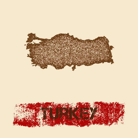 Turkey distressed map. Grunge patriotic poster with textured country ink stamp and roller paint mark, vector illustration. Illustration
