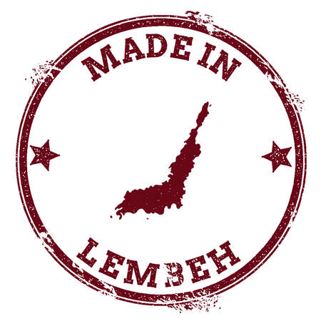 Lembeh seal. Vintage island map sticker. Grunge rubber stamp with Made in text and map outline, vector illustration.