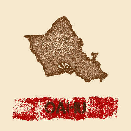 Oahu distressed map. Grunge patriotic poster with textured island ink stamp and roller paint mark, vector illustration.