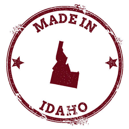 Idaho vector seal. Vintage USA state map stamp. Grunge rubber stamp with Made in Idaho text and USA state map