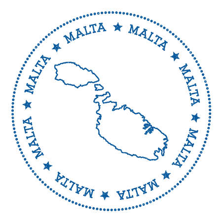 maltese map: Malta map sticker. Hipster and retro style badge. Minimalistic insignia with round dots border. Island vector illustration.