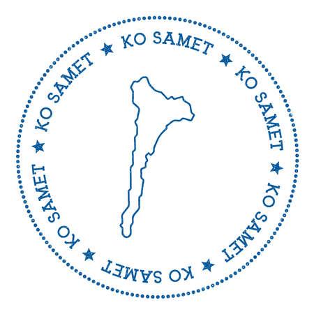 Ko Samet map sticker. Hipster and retro style badge. Minimalistic insignia with round dots border. Island vector illustration. Ilustracje wektorowe
