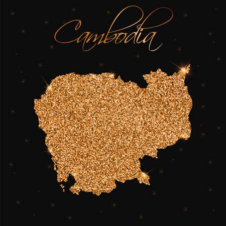 cambodian: Cambodia map filled with golden glitter. Luxurious design element, vector illustration. Illustration
